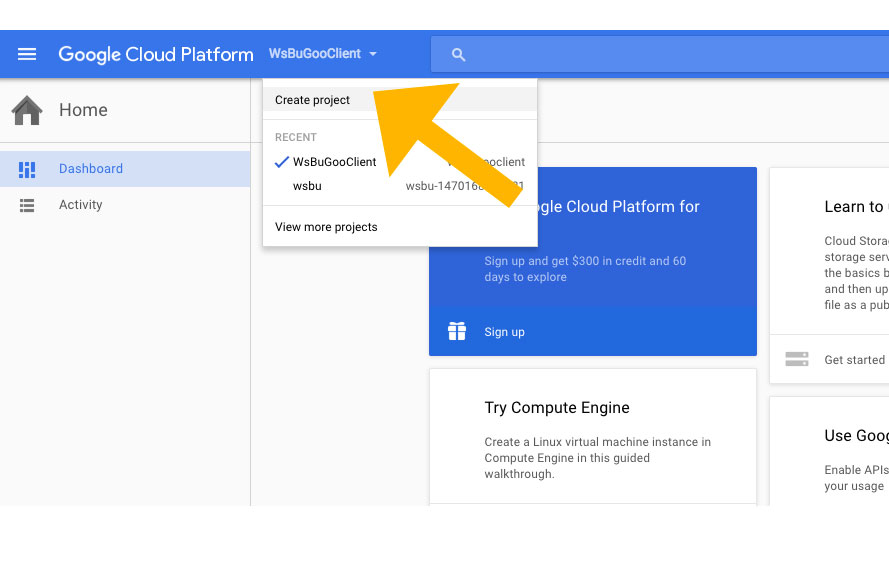 Build backup client that connects to Google Cloud Storage Step2a