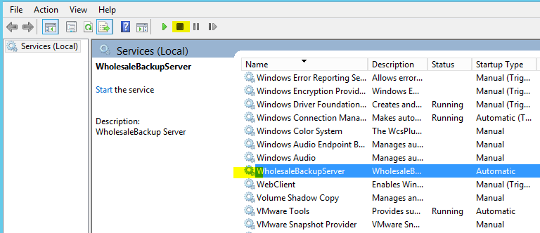 how to stop windows backup service