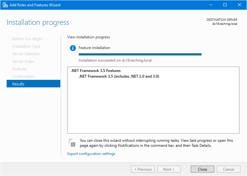 Install dotNet Framework on Server 2016